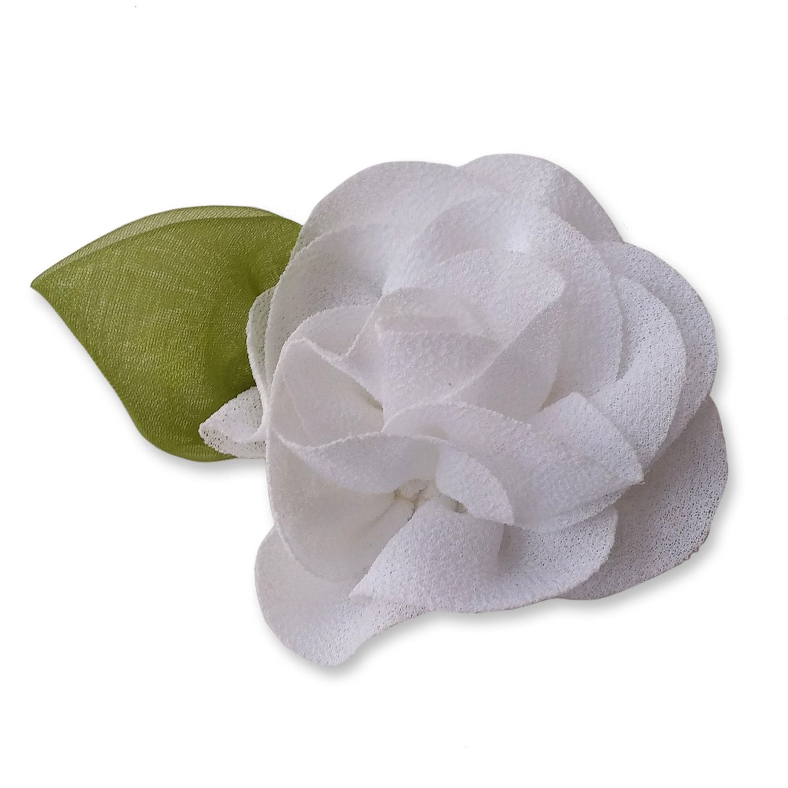 6cm Rose Leaf White Fabric Flower Applique