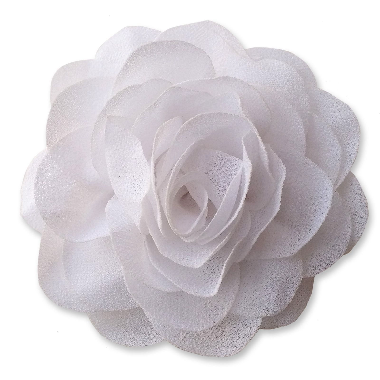 8cm Camellia White Fabric Flower Applique