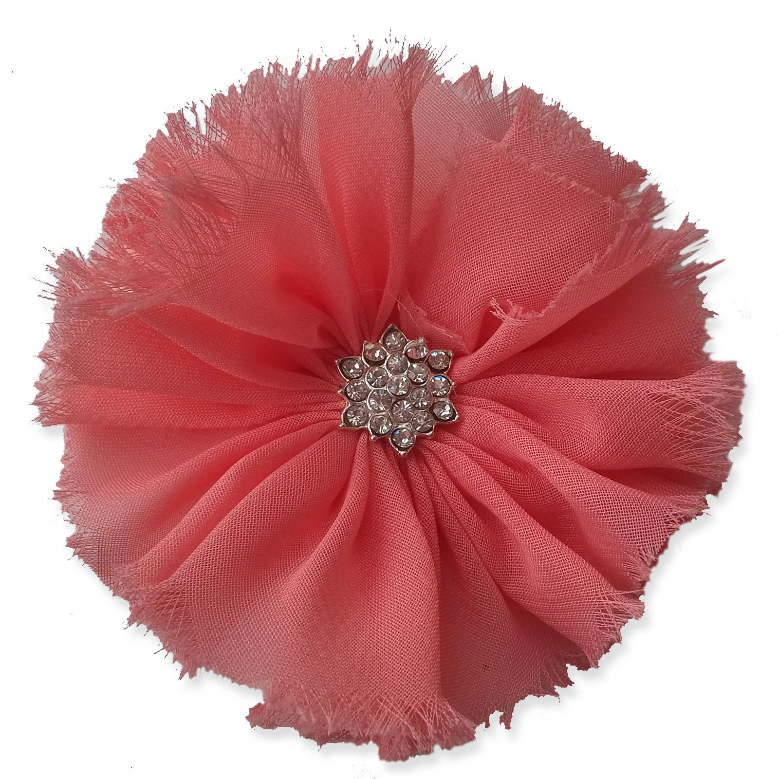 8cm Frayed Diamante CORAL PINK Fabric Flower Applique